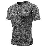 AMZSPORT Herren Kompressions-Shirt Kurzarm Funktionsshirts TOP Grau L