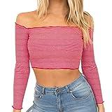 URSING Damen Kurzes Top Off Shoulder Sweatshirt Langarm Shirt Gestreift Gedruckt Slim fit T- Shirt...