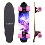 BAYTTER® 22 Zoll Skateboard Komplett Board Mini-Cruiser aus 7-lagigem Ahornholz 57 x 15cm für...