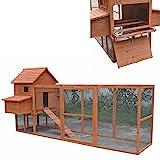 Melko Hühnerstall XXL Hühnerhaus mit Freigehege, aus Holz, 310 x 150 x 150 cm, inklusvie Rampe + 2...