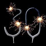 Wunderkerzen-Set für Tortendeko Zum 30. Geburtstag, Geburtstagskuchen-Dekoration