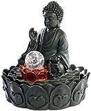 infactory Zierbrunnen: Beleuchteter Zimmerbrunnen 'Lotus-Buddha' mit Glaskugel (Wasserspiele)