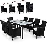 PolyRattan Sitzgruppe 8+1 Schwarz Gartenmöbel Lounge Sitzgarnitur Essgruppe ✔ stapelbare Stühle...