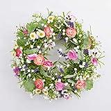 artplants Künstlicher Frühlingskranz Felicia mit Stiefmütterchen, Ranunkeln, rosa-weiß, Ø 30 cm...