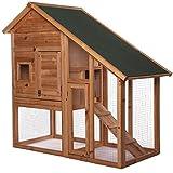 dibea RH10012, Kleintierstall Holz (140 x 64 x 119 cm), geräumiger 2-Etagen Käfig mit...