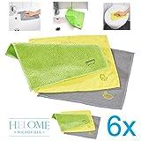 Microfasertücher 6er Pack 'BAD & WC Tücher' (2mal grün / 2mal gelb / 2mal grau) | Reinigung von...