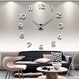 DIY Wanduhr Moderne Clock 3D Acryl Spiegel Metall Rahmenlose Wandaufkleber groß Uhren Style Raum...