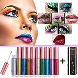 BuguCat 10 Farben Eyeliner Glitzer Set,Augen Makeup Glitter Liquid Pigment Sparkling Lidschatten...