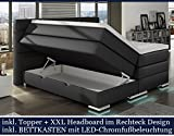 XXL ROMA Boxspringbett mit Bettkasten Designer Boxspring Bett LED Nachtschwarz Rechteck Design...