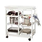 SoBuy® Servierwagen, Küchenwagen, Rollwagen m.Schublade, Farbe:Weiß L67xB37xH75cm FKW04-W