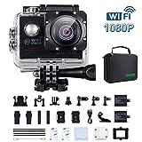 FHD 1080P WiFi Action cam Digital Unterwasserkamera 170° Weitwinkel,2 1050mAh Akkus Helmkamera für...