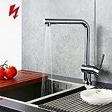 Homelody Chrom Niederdruckarmatur Wasserhahn herausziehbar Küchenarmatur mit Brause niederdruck...