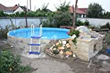 Stahlwandbecken weiss Pool Schwimmbecken Luxusbecken 4,50 m x 1,20 m inkl. Bodenschienen,...