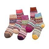 Frauen Stricken Baumwollsocken SHOBDW 5 Paar Damen Strick Printed Warm Wolle Socken