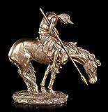 Indianer Figur auf Pferd - End of Trail   Western Deko Statue Reiter Bronze-Optik