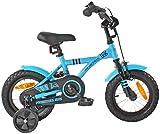 PROMETHEUS Kinderfahrrad 12 Zoll Jungen und Mädchen in Blau & Schwarz mit Stützrädern |...