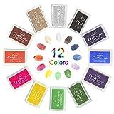 Stempelkissen,Lnkey 12 Farben Stempelkissen Set für kinder, Mehrfarbige Stempelkissen Fingerabdruck...