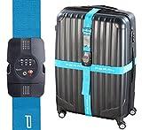 PEARL Kofferband: TSA-zertifizierter Kreuz-Koffergurt mit Zahlenschloss, 5 x 400 cm (Koffer-Gurt)