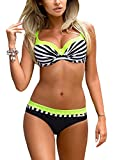 Romacci Damen Bikini Set Damen Bikini Set Bügel Push up Striped Badebekleidung Zweiteilige Strand...