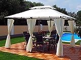 Garten Pavillon 3x4m, Groten Luxus Hochwertiges Wasserdicht Polyester Gartenzelt mit 6 Vorhängen...