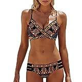 Minetom Damen Push Up Bikini-Sets Böhmen Tankini Neckholder Bandeau Badeanzug Bademode Swimwear...