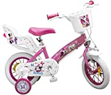 Kinderfahrrad Minnie Mouse 12 Zoll 14 Zoll rosa weiß Mädchen Fahrrad Puppensitz (12 Zoll)