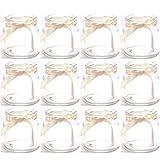 Annastore 12 x Teelichtgläser mit cremefarbenem Band H 7 cm, für kleine Teelichter geeignet