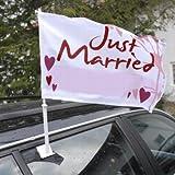 Autoflagge 'Hochzeit' - Autoflagge mit der Aufschrift 'Just married' in Rot-Weiß
