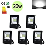 Hengda 5 Stück 20W SMD LED Strahler Fluter IP65 Außen Flutlicht Leuchtmittel Scheinwerfer...