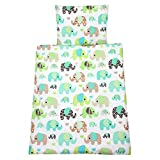 TupTam Baby Kinderwagen Bettwäsche Set Wiegenset 60x75 4 tlg, Farbe: Elefant Mint, Größe: ca. 60...