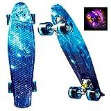 Ancheer Mini Cruiser Skateboard Komplett 55cm Retro Skate Board mit LED Leuchtrollen für Kinder...