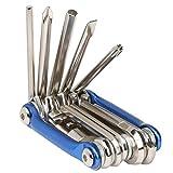 TRIXES Kompaktes Fahrrad - Multifunktionswerkzeug, klappbar in Chrom / Blau mit Steckschlüsseln und...
