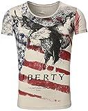 Akito Tanaka Herren vintage used Look T-Shirt Eagle round tiefer rundhals Ausschnitt USA Amerika...