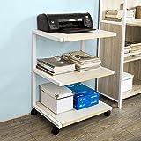 SoBuy® Drucker-Rolltisch mit 3 Ablagefächern,Druckerständer, Beistelltisch, Küchenwagen,...