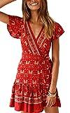ECOWISH Damen Kleider Boho Vintage Sommerkleid V-Ausschnitt A-Linie Minikleid Swing Strandkleid mit...