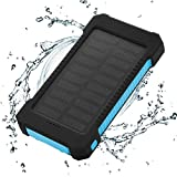 FLOUREON Solar Ladegerät Power Bank 10000mAh Akku Batterie Outdoor Wasserdicht mit Dual USB LED...