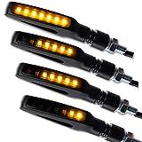 4 x LED Motorrad Mini Blinker Laufeffekt Lauflicht Gap Sequentiell schwarz getönt universal 2 Paar...