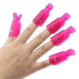 10 Stück Kunststoff-Nagel-Kunst tränken weg Cap Clip UV Gel Polish Remover Wrap-Werkzeug (Rosarot)