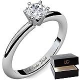 Verlobungsring Damen Silber 925 Damen-Ring von AMOONIC mit SWAROVSKI Zirkonia Ringe Silberring Stein...