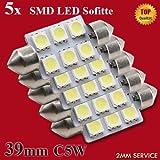 5x LED-Soffitte für 39mm Lampensockel mit 6 SMD LEDs Leuchtfarbe Weiß Xenon-Weiß -...
