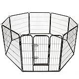 TRESKO® Welpenlaufstall Freilaufgehege Welpenauslauf Hundelaufstall Tierlaufstall Hunde, mit Tür...