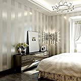 LXPAGTZ Einfache moderne Vlies-Tapete Schlafzimmer Wohnzimmer schwarzen und weißen vertikalen...