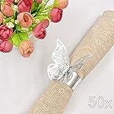 JZK® 50 x Metallähnlicher Silber Schmetterling Perle Papier Serviettenringe Tischdekoration Set,...