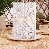 Hochzeit EinladungsKarten Glückwunsch Einladung Karten , 20 Stück DIKETE Elegante Blume Spitze 4...