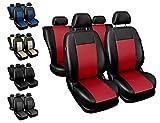 Sitzbezüge Auto universal Set Autositzbezüge Schonbezüge schwarz-rot Vordersitze und Rücksitze...