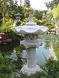 Yukimi auf Säule a japanische Steinlaterne Koi Teich