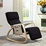 Relaxstuhl, Schwingstuhl mit verstellbarem Fussteil, Seitentasche, Antirutsch und Kopfschutz-Mütze...