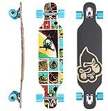 STAR-SKATEBOARDS® Premium Canadian Maple Drop Through Flush Cut Pro Longboard Skateboard für...