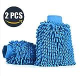 Aodoor (2er-Pack) Wasserdicht Mikrofaser Waschhandschuh, weicher Korallen Autowaschhandschuh zur...