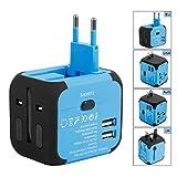 Duomishu Reiseadapter Reisestecker 2 Polig 3-Polig USB 4 Fach Reise Adapter weltweiter Einsatz...